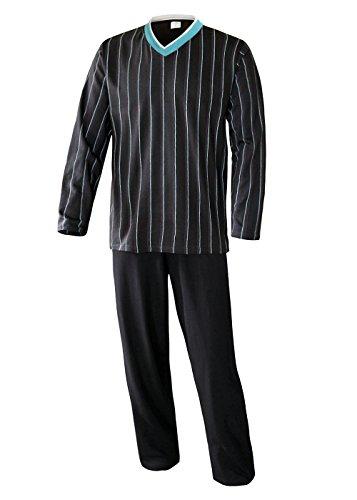 Herren Pyjama lang Herren Schlafanzug lang Hausanzug Herren aus 100{81d0337fb3e969c67bd99e876b9b38b6a1560b089d1b597858ef13f17d745a82} Baumwolle Model Vintage (L/50-52, Oberteil anthrazit/Hose Uni anthrazit)