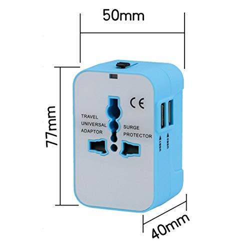 Jammas Adaptador universal internacional de enchufe 2 puertos USB World Travel AC Power Charger Adapter Converter Plug - (estándar: enchufe universal, color: negro y blanco)