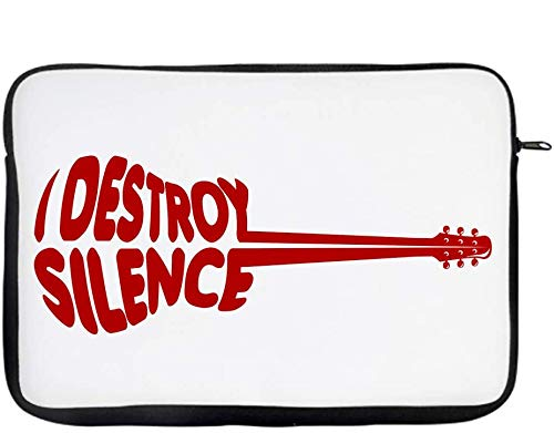 """I destroy silence Music Lover Gift for Men/Father's Day/Him/Brother/DJ/Birthday gift idea W / 13"""" / 14"""" / 15"""" Laptop Sleeve. (13')"""