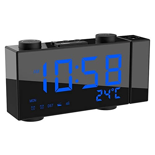 Huanhog LCD-Digital-Projektions-Wecker-Radio-Controll Jimi Multifunktionsstelle Uhr mit Datum Dual-Alarm Snooze-Funktion Für Schlafzimmer Office (Color : Blue)