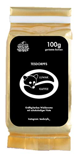 Tesdorpfs 100% Luwak Kaffee - City Roast 100g (Bohnen): eine Kaffeespezialität aus Indonesien von freilebenden Tieren als perfektes Geschenk für Kaffeeliebhaber