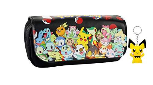 Estuche de lápices Pokemon Pikachu, estuche de lápices de doble cremallera de gran capacidad de dibujos animados, estuche de papelería para estudiantes + llavero (color 3)