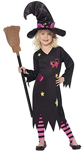 Halloween! Smiffys Kostüm Holzhexe, Schwarz, mit Kleid, Hut und Strumpfhose, S