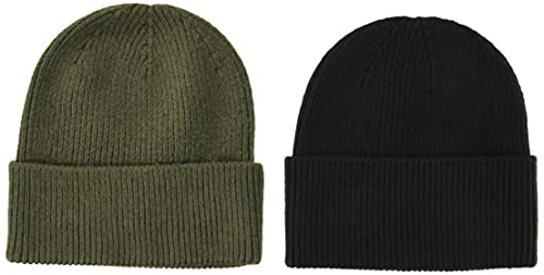 Amazon Essentials Men's 2-Pack Knit Beanie Hat, Olive/Black, One Size