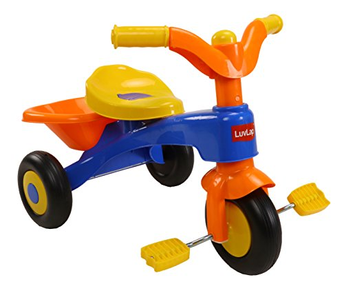LuvLap Charlie Baby Kids Tricycle with Anti-Slip Pedals & Rear Basket, up to 18 Months, Carry Capacity Upto 18 Kg (Orange)