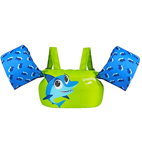 Gogokids Toddler Life Jacket, Children Swimming Pool Float with Arm Wings, Kids Swim Vest with Shoulder Harness for 30-50 lbs Infant/Baby/Toddler (Green Shark)
