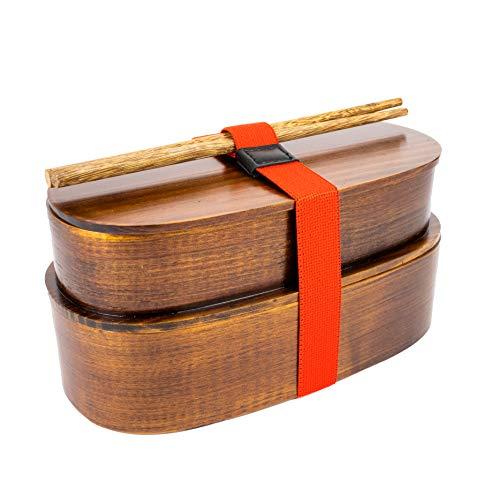 Dakimasu Bento Box Madera – Práctica y Robusta Caja de Almuerzo Premium con 2 Compartimentos – Ideal para Servir, Transportar y Almacenar Comida – Contenedor de Comida de Estilo Japonés
