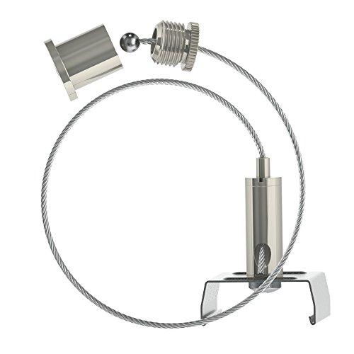 Abhängeset für Global-Stromschienen;vernickelt; bestehend aus Deckenbefestiger mit Kappe; Drahtseil Ø1,5mm Länge1500mm, Drahtseilhalter