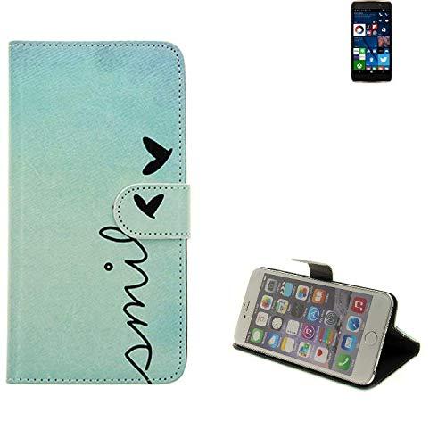 K-S-Trade® Schutzhülle Für Alcatel Idol 4 Pro Hülle Wallet Case Flip Cover Tasche Bookstyle Etui Handyhülle ''Smile'' Türkis Standfunktion Kameraschutz (1Stk)