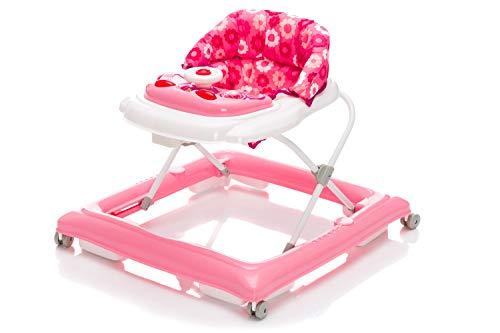 Fillikid Gehfrei Lauflernwagen Exclusiv   Lauflernhilfe mit Spielbrett & Anti-Rutsch-Funktion   Lauflernwagen 3 fach höhenverstellbar   Baby Walker mit waschbaren Einhang, Design:rosa
