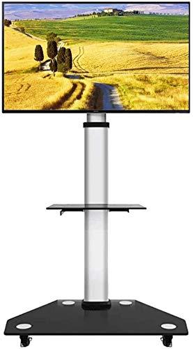 WJJ Soporte TV Pared Soporte TV For el vidrio for TV de 30/49/55/65/70/75/80 pulgadas de pantalla LCD LED Plasma de panel plano |Carro móvil Soporte de suelo con bloqueo de ruedas, con 2 Estante de al