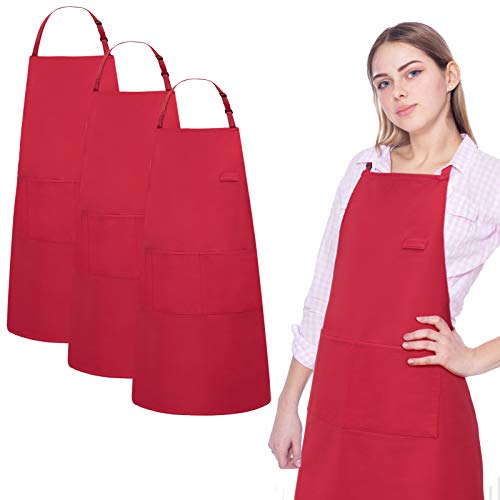 3 Pack Aprons for Women Men with Pocket Spillproof Adjustable Apron for Cooking