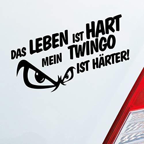Auto Aufkleber in deiner Wunschfarbe Das Leben ist hart Mein… ist härter! für Twingo Fans 19x9,5 cm Sticker Folie