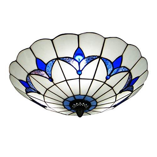 LANMOU Lámpara de Techo Estilo Tiffany Plafón con Montura Empotrada Lámpara de Pantalla de Vidrio Mediterráneo Luz de Techo con Montura Semiempotrada use Bombillas E27 Azul y blanco,Ø40cm