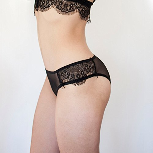 Sheer Black Lace Panties Lace Panties with Side Eyelash Lace Inserts. Handmade Lace Lingerie.