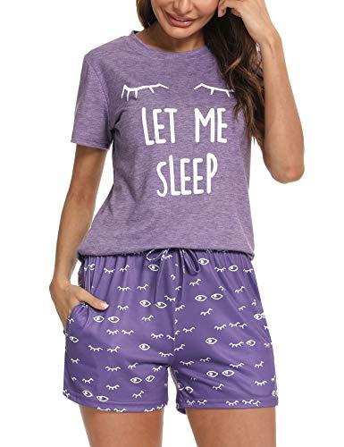 Aibrou Pijama Mujer, Conjunto Pijama Mujer Ropa de Casa Dormir de Manga Corta en Cuello Redondo Pijama EstampadoConjuntos Camiseta y Punto de Onda Pantalon Mujer per Casual Púrpura L