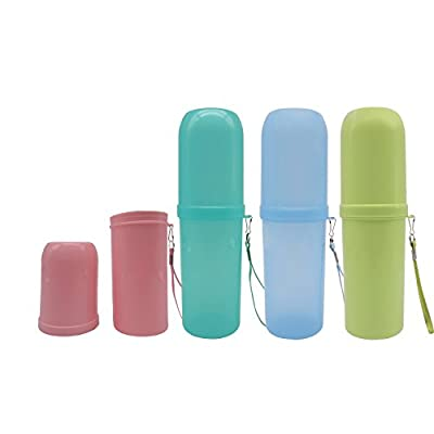 TRENDBOX Travel Toothbrush Toothpaste Holder Anti Bacterial Storage Box Dual Use Tooth Mug 4 Pack
