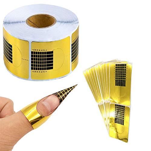 Autocollant de Nail Art Forms, 1 rouleau de 500pcs porte papier Nail Acrylique Gel UV Nail Art Guide de prolongation DIY Nail Shape Stickers (forme carrée dorée)