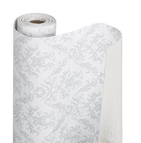 Smart Design Shelf Liner Bonded Grip - (12 Inch x 10 Feet) - Drawer Cabinet Smooth Top Non Adhesive - Home & Kitchen [Fleur Gris]