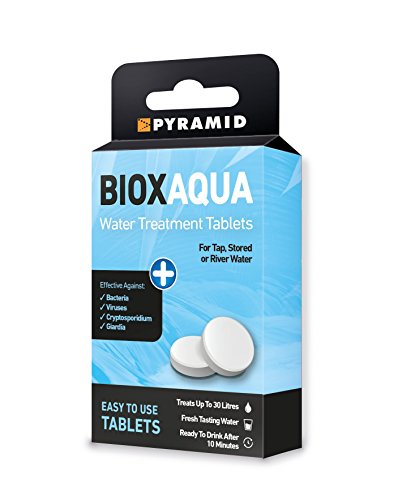 Pyramid Biox Aqua Chlorine Dioxide Water Treatment Tablets for Travellers Camping Backpackers - treats 30 litres