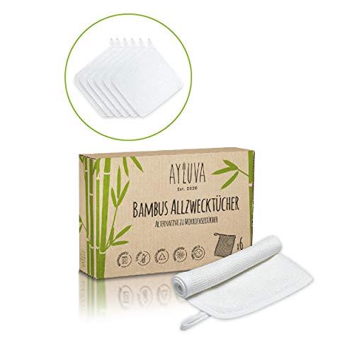 AYLUVA® 6X Zero Waste Putztücher aus Bambus ohne Mikroplastik für Haushalt - Nachhaltige Allzwecktücher zum Reinigen von Hochglanz Küche, Fenster, Bad, Möbel & Auto - Tücher, Lappen in Weiß [33x33cm]