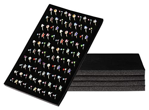Ring Pad - 5-Pack Velvet Ring Display Tray, Ring Box Insert, Case, Ring Foam, Jewelry Tray Insert, for Accessory Storage, Show, Retail, Shop, Home, Counter Top, 100 Slot, Black, 13.4 x 9 x 0.5 Inches