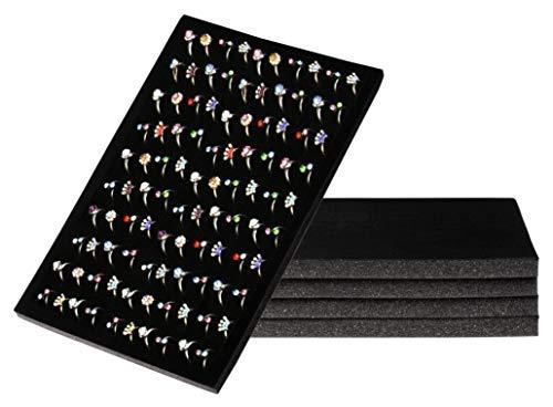 Juvale Anello Pad – Vassoio per Anelli in Velluto, per riporre Accessori, Vendita al Dettaglio, casa, 100 Slot, Velluto, Nero, 5 Pack, 34 x 22,9 x 1,27 cm
