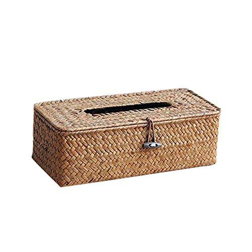 Fablcrew. Taschentuch-Box, Kosmetiktücherbox aus Rattan, Papierkorb, Aufbewahrungsbox Seagras Aufbewahrungskiste mit Deckel Aufbewahrungskörbe