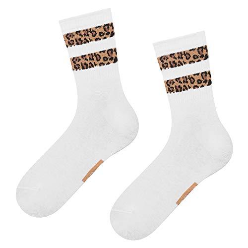 soxo Damen Socken mit Streifen Leoparden Motiv | Tiermuster Design Baumwolle Frauen Socken (Weiß)