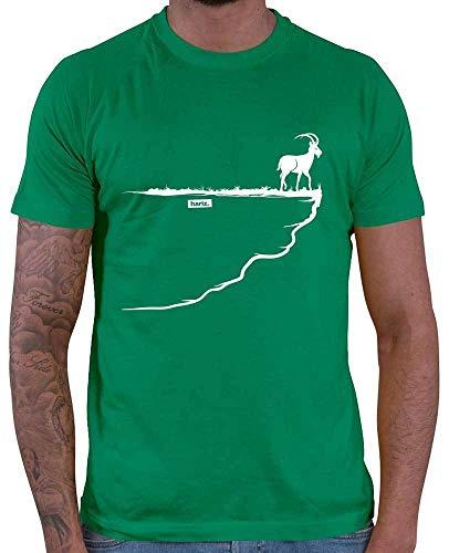 Hariz – Camiseta de hombre Steinbock Fels Berg Alpen Senderismo Escalada Plus tarjetas de regalo verde XL
