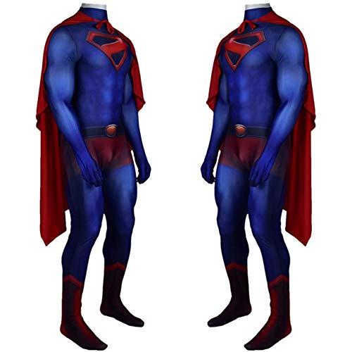 NVHAIM Kids Superman Steel Cuerpo Cos Cos Body con Capa Roja, Adulto Superhroe Adulto Cosplay Costume, Impresin 3D Padre-Nio Ropa Ropa Ropa Jumpsuits Traje de Batalla,Men S