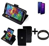 K-S-Trade® Case Schutz Hülle Für Allview Soul X6 Mini + Bumper Handyhülle Flipcase Smartphone Cover Handy Schutz Tasche Walletcase Schwarz (1x)