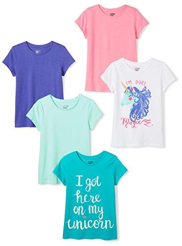 Amazon Brand - Spotted Zebra Big Girl's 5-Pack Short-Sleeve T-Shirts, Magic, Large (10)