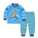 Tuta Bambino Sleepwear Set Pigiama Baby Set di Abbigliamento Manica Lunga per l'inverno Bambini 2PCS Blu 80 Centimetri