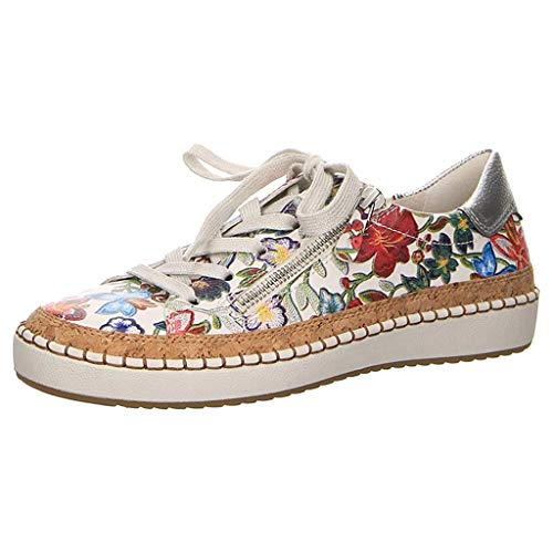 TUU Ladies Printing Flat Round Toe Tie up Large Size Slip-on Casual Shoes