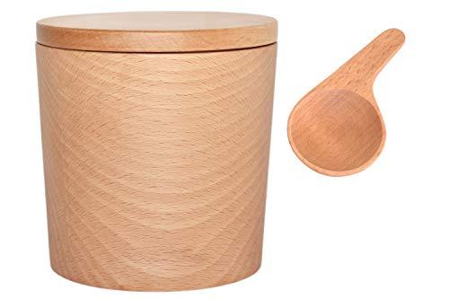 籐芸 TOUGEI 木のキャニスター (無地) 250ml メジャースプーン 5g 木製保存容器 2点セット