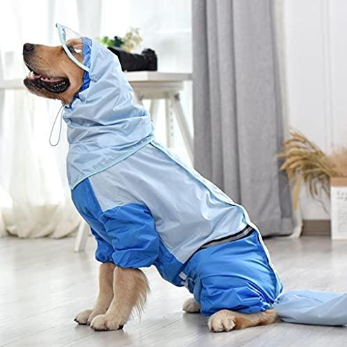 JYDQM Chubasquero para Perros Grandes de Retazos para Ropa de Perro Doberman Greyhound Impermeable Tira Reflectante para Perros Monos para Mascotas Ropa (Color : Blue, Size : XXXXXXX-Large)