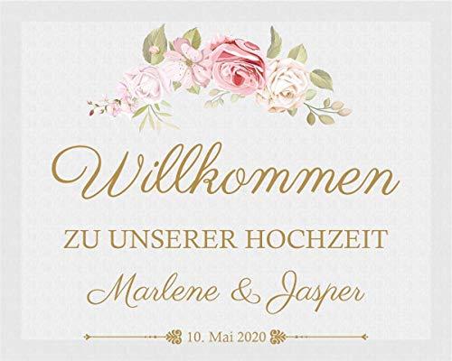 Livingstyle & Wanddesign | Willkommensschild zur Hochzeit | Dekoration Hochzeit | Leinwand im Format 40x50cm | Personalisierbar mit Datum und Namen des Brautpaares | Rosenmotiv