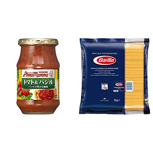 【パスタとセットで】 アンナマンマ トマト&バジル 330g×6個+バリラ No.3 スパゲッティーニ 5kg [並行輸入品]