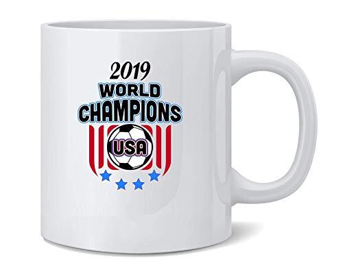 N\A USA Soccer World Champions 2019 Stars Taza de café de cerámica Taza de té Regalo Divertido y novedoso 11 oz