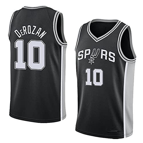 Camiseta de Baloncesto para Hombre NBA Spurs No. 10 Camiseta Negra Camiseta de Manga Corta con Chaleco Informal, L