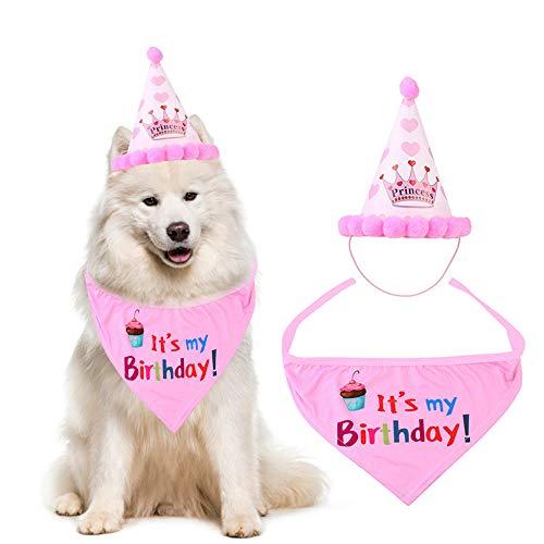 NETUME Juego de Gorro de Cumpleaños con Bandana para Perros, Bandanas para Perros Pequeños/Medianos/Grandes, Bufanda para Gorro de Fiesta para Perros, Regalos de Cumpleaños Ideales para Mascotas