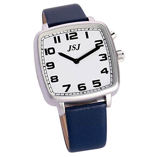 Reloj de pulsera cuadrado parlante alemán con función de despertador, función de voz, hora y fecha, esfera blanca, correa de piel azul TGSW-1705G