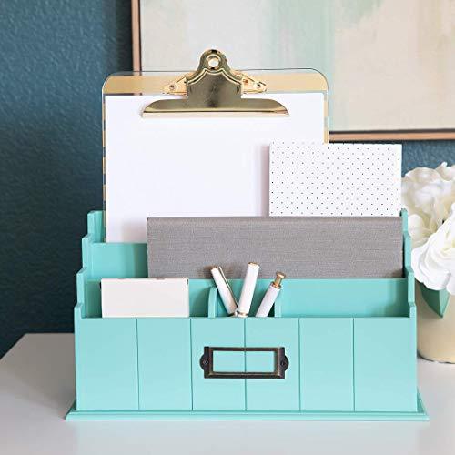 Blu Monaco Teal Wooden Mail Organizer - 3 Tier Teal Desk Organizer - Rustic Country Mail Sorter - Kitchen Countertop Organizer Mail Basket