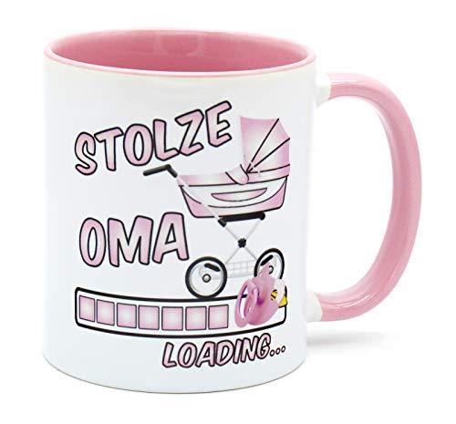 Stolze Oma Loading Tee Tasse Kaffee Becher Geschenk für werdende Großeltern Du wirst Großmutter Überraschung Baby zukünftige Verkündung Schwangerschaft Schwanger Glückwunsch bald Mädchen Geschenkidee
