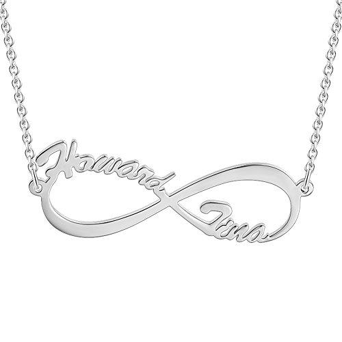 SOUFEEL Collar Plata Colgante con Nombre Infinito Personalizados Regalo para Familia Cadena Más Extención