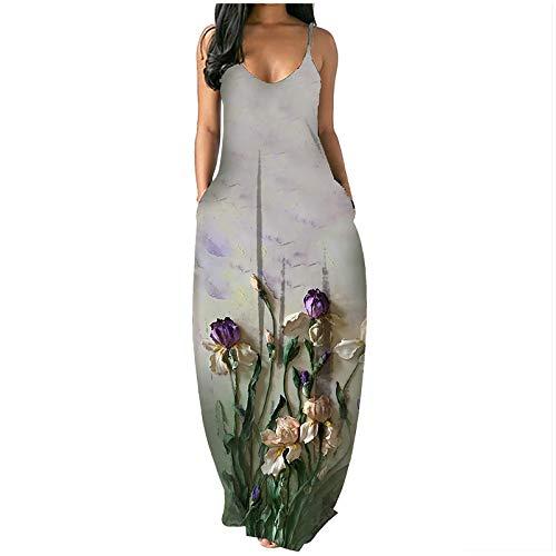 Tavorpt Dress for Women, Women's Summer Sleeveless Floral Print Loose Plain Maxi Dress Casual Long Dress with Pockets