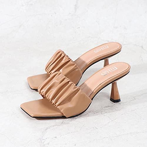 ypyrhh Zapatillas de Estar por Casa de Mujer/Hombre,Tejiendo Sandalias de tacón Alto,Bien con Zapatillas de Punta-Negro_37,para Hombre Chanclas Slider