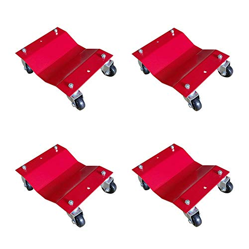 MTB 4 Pack Red 12x16 Inch Heavy Duty Wheel Dolly Car Tire Stakes Set 6800lbs Total Capacity for Tow or Vehicle Storage Furniture Movers
