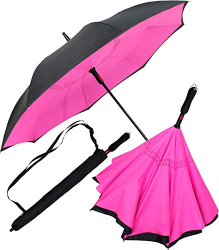iX-brella Reverse-Regenschirm Automatik- umgedreht zu öffnen - schwarz-neon pink